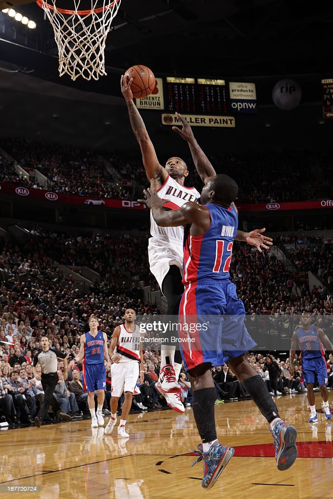 Mo Williams #25 of the Portland Trailblazers goes up for the layup against the Detroit Pistons on November 11, 2013 at the Moda Center Arena in Portland, Oregon.