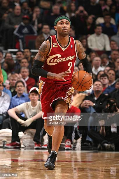 Mo Williams of the the Cleveland Cavaliers moves the ball up court during the game against the Chicago Bulls at United Center on April 8 2010 in...