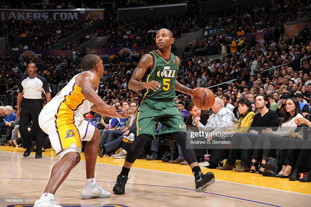 Mo Williams #5 of the Utah Jazz handles the ballp against the Los Angeles Lakers at Staples Center on December 9, 2012 in Los Angeles, California.