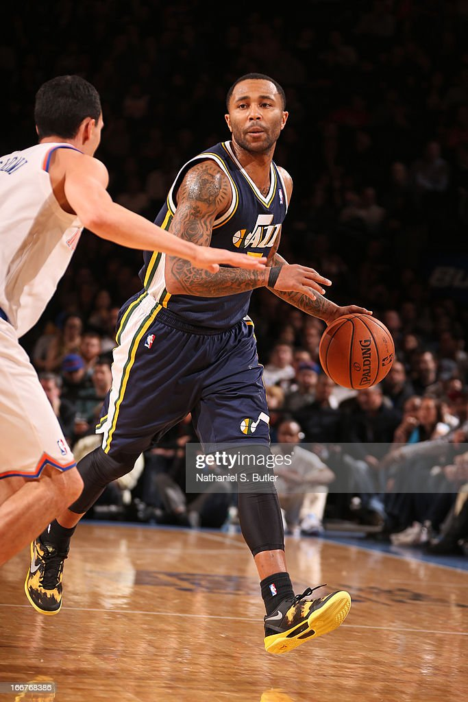 Mo Williams #5 of the Utah Jazz moves the ball up-court against the New York Knicks on March 9, 2013 at Madison Square Garden in New York City.