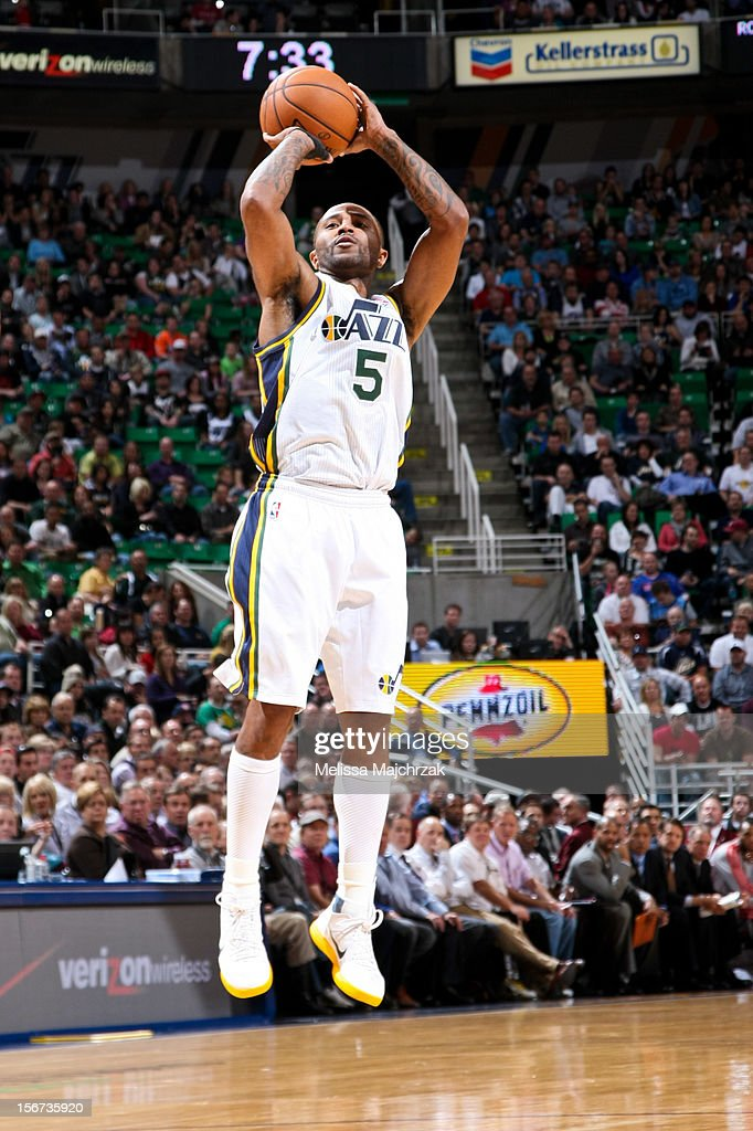 Mo Williams #5 of the Utah Jazz shoots a three-pointer against the Houston Rockets at Energy Solutions Arena on November 19, 2012 in Salt Lake City, Utah.