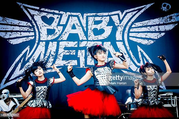 Moa Kikuchi Suzuka Nakamoto and Yui Mizuno perform with Babymetal on Day 1 of the Heavy Montreal Festival on August 9 2014 in Montreal Canada