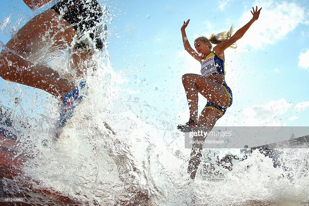Moa Rothman of Sweden competes during the Women's Steeplechase final at Ekangen Arena on July 18 2015 in Eskilstuna Sweden