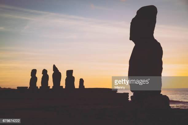Moai Ahu Tahai and Ahu Vai Ure Silhouettes at Sunset Rapa Nui Hanga Roa