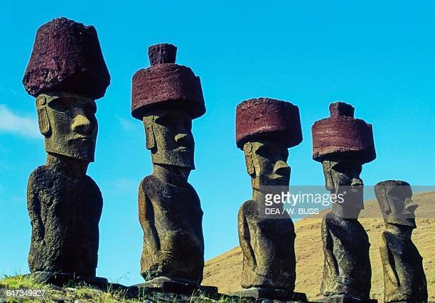 Moai megalithic anthropomorphic statues Anakena RapaNui National Park Easter Island Chile