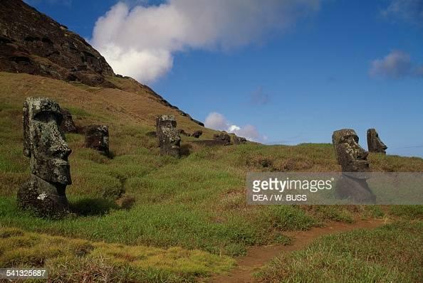 Moai near Rano Raraku volcano RapaNui National Park Easter Island Chile Chile Polynesian civilisation