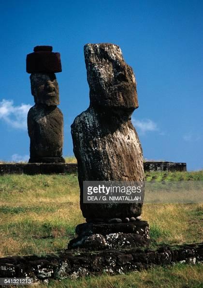 Moai of Ahu Tahai the moai of Ahu Ko Te Riku in the background Rapa Nui National Park Easter Island Chile Polynesian civilisation