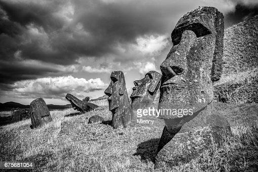 Moai Rano Raraku Easter Island Statues Rapa Nui BW : Stock Photo