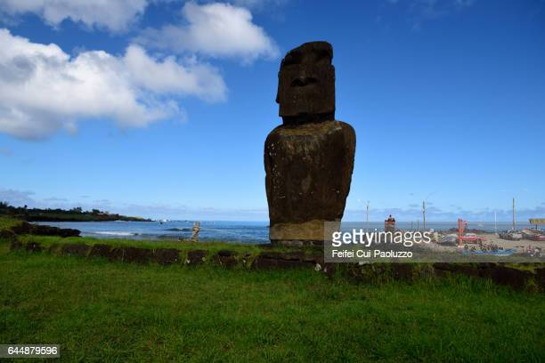 Moai statue at Hanga Roa in Easter Island of Chile