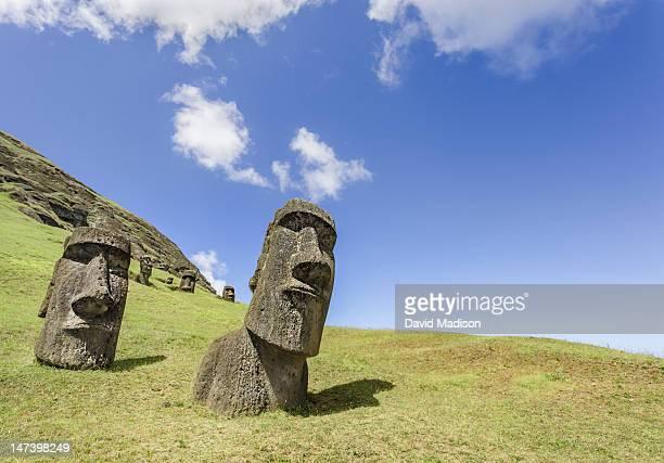 Moai statues at Rano Raraku, the Moai quarry.