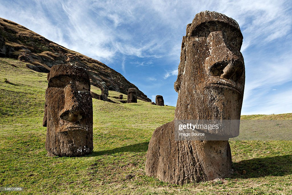 Moai statues, rano raraku, easter island, polynesia : Stock Photo