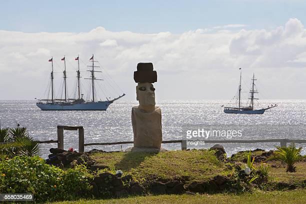 Moai The FourMast Barquentine Esmeralda Brigantine Soren Larsen In Hanga Roa Harbour Rapa Nui Chile