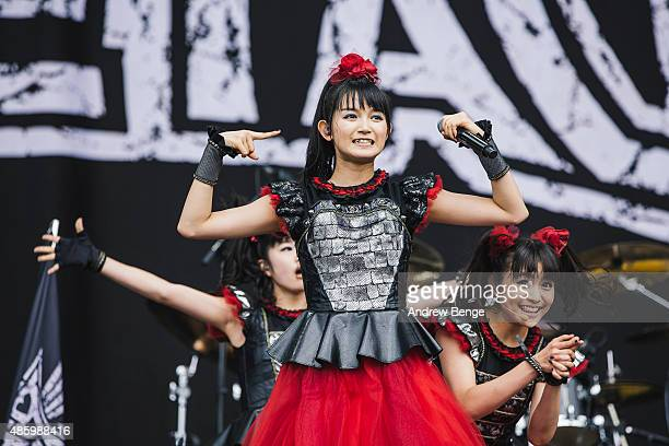 Moametal Sumetal and Yuimetal of Babymetal perform on the main stage during day 3 of Leeds Festival at Bramham Park on August 30 2015 in Leeds England