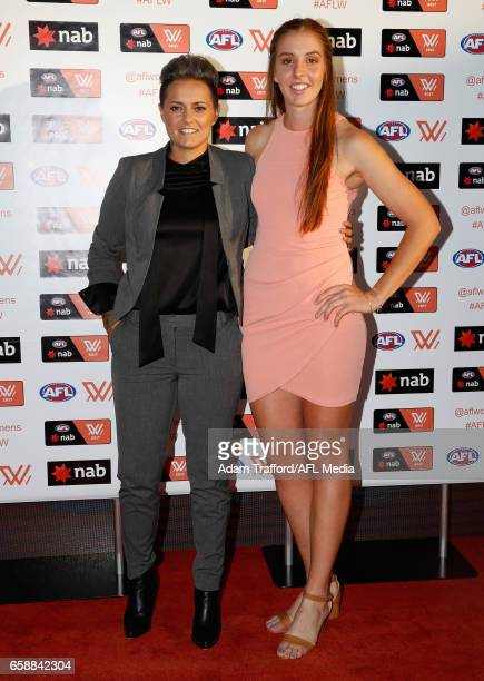 Moana Hope and Emma King of the Magpies arrive during the The W Awards at the Peninsula on March 28 2017 in Melbourne Australia
