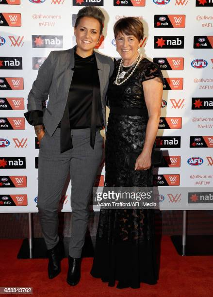 Moana Hope of the Magpies and Jan Cooper arrive during the The W Awards at the Peninsula on March 28 2017 in Melbourne Australia