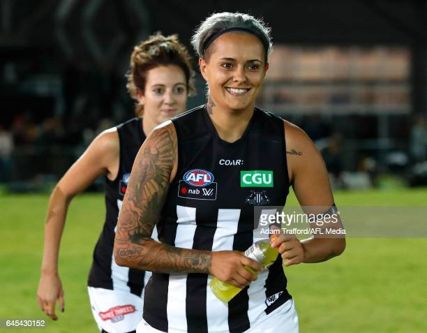 Moana Hope of the Magpies celebrates during the 2017 AFLW Round 04 match between the Western Bulldogs and Collingwood Magpies at VU Whitten Oval on...