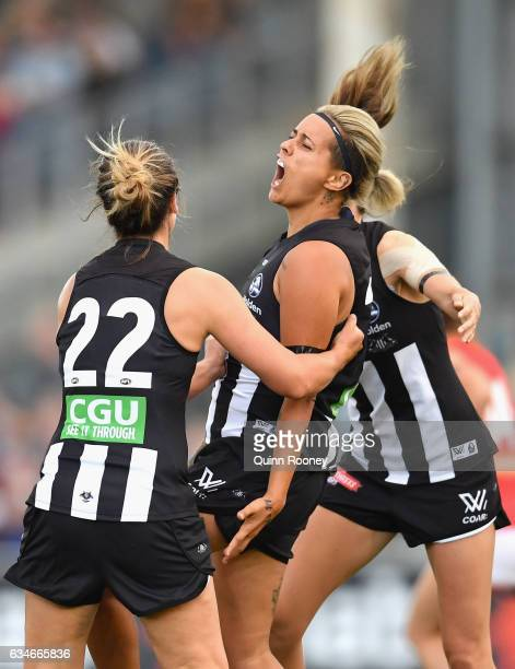 Moana Hope of the Magpies celebrates kicking a goal during the round two AFL Women's match between the Collingwood Magpies and the Melbourne Demons...