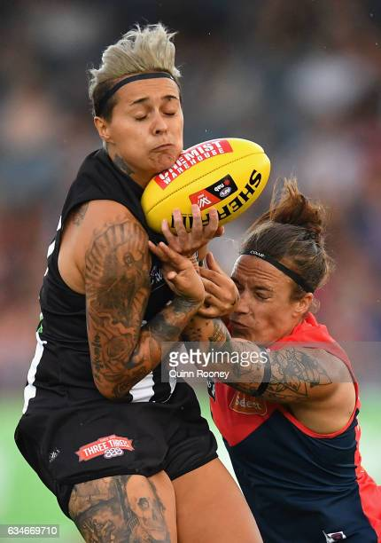 Moana Hope of the Magpies marks during the round two AFL Women's match between the Collingwood Magpies and the Melbourne Demons at Ikon Park on...