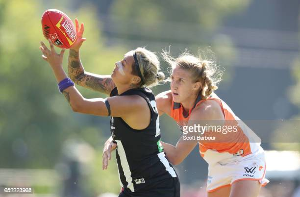 Moana Hope of the Magpies marks the ball during the round six AFL Women's match between the Collingwood Magpies and the Greater Western Sydney Giants...
