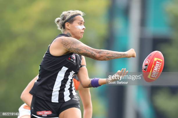 Moana Hope of the Magpies passes the ball during the round six AFL Women's match between the Collingwood Magpies and the Greater Western Sydney...