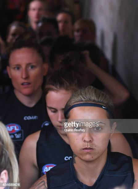 Moana Hope of the Magpies walks out onto the field during the round two AFL Women's match between the Collingwood Magpies and the Melbourne Demons at...