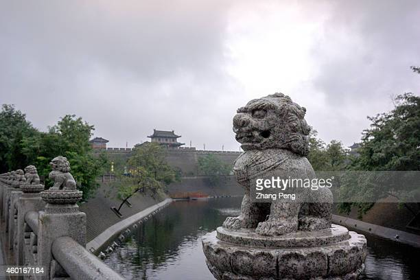 XI'AN SHAANXI PROVINCE CHINA Moat along the city wall Xian City Wall is the most complete city wall that has survived in China as well being one of...