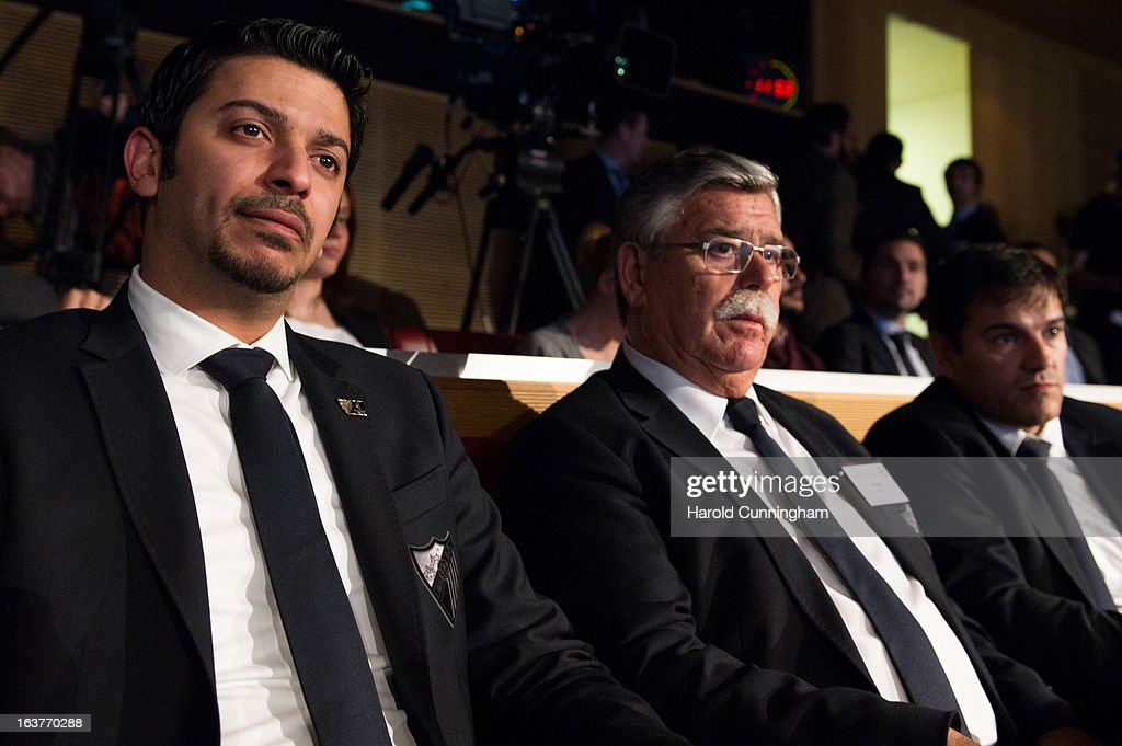 Moayad Shatat, Malaga FC Executive Vice President (L), looks on during the UEFA Champions League quarter finals draw at the UEFA headquarters on March 15, 2013 in Nyon, Switzerland.