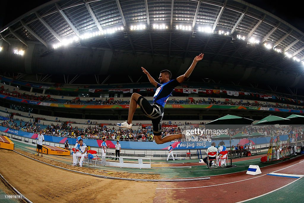 Mobarak Qambar of Kuwait in action during the Boy's Long Jump Qualification-Group B during day three of the 2nd Asian Youth Games on August 19, 2013 in Nanjing, China.