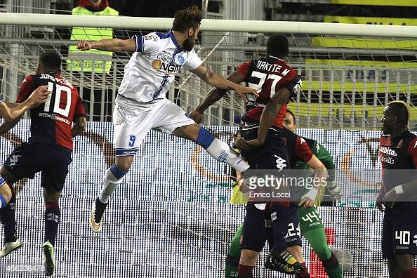 Mobido Diakite of Cagliari and Mchedlidze Levan of Empoli during the Serie A match between Cagliari Calcio and Empoli FC at Stadio Sant'Elia on March...