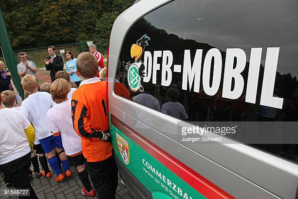 DFB mobil van is placed at the stadium of the Tawern soccer club on October 7 2009 in Tawern Germany
