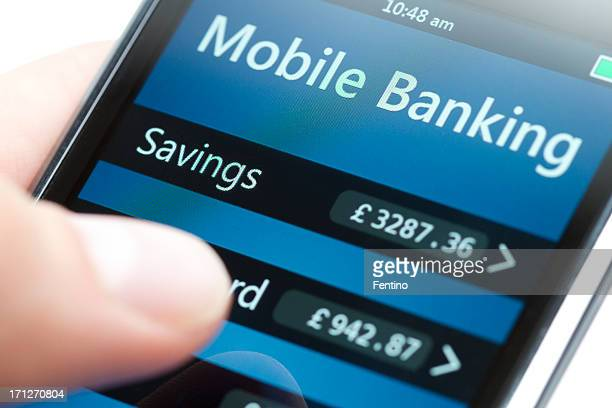 Mobile Banking on Smartphone Close-up - Pound