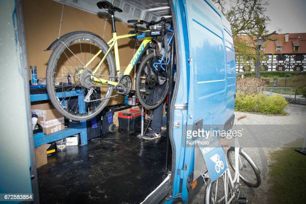 A mobile bike repair shop is seen at the Mill Island on 23 April 2017 The city is helping small businesses promote themselves by letting them offer...