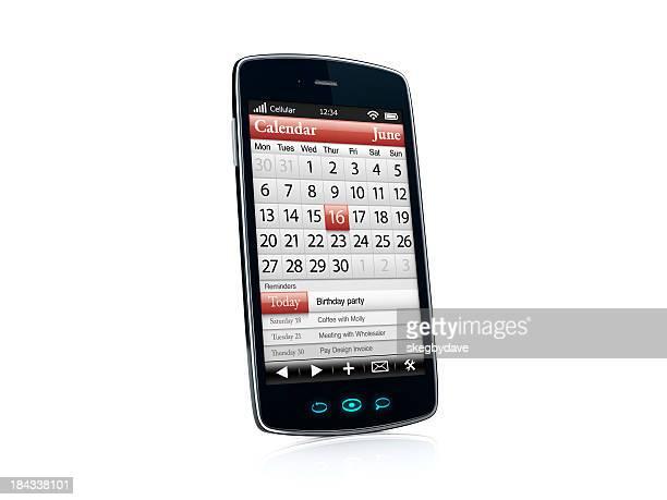Cellulari di uno Smartphone con applicazione di calendario-Vista del lato sinistro