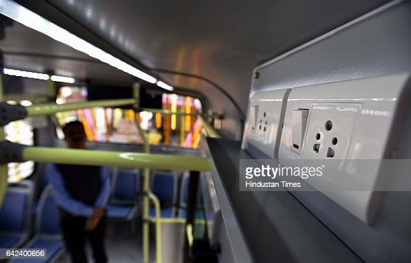 Mobile charger system installed in 100 new cluster buses at Delhi Secretariat on February 17 2017 in New Delhi India