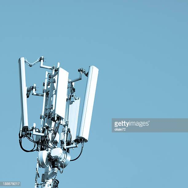 Mobile Communication Tower Against a Blue Sky, Technology Background