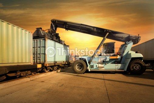 Mobile Crane In Train Rail Yard Stock Photo | Thinkstock