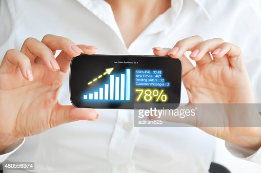 Mobile device sales dashboard : Stock Photo