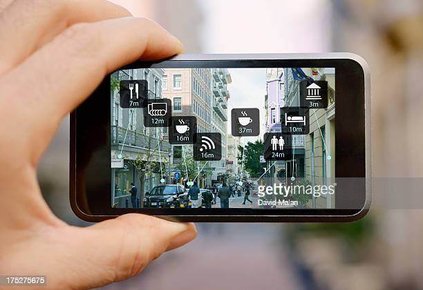 Mobile device showing augmented reality