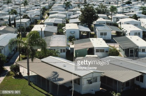 Mobile Home Park Sarasota Florida Usa Elevated View Stock Photo