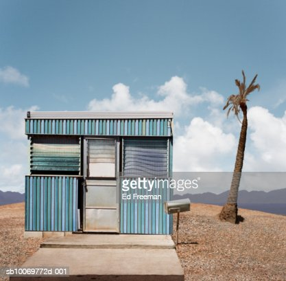 Mobile homes in trailer park, close-up : Stock Photo