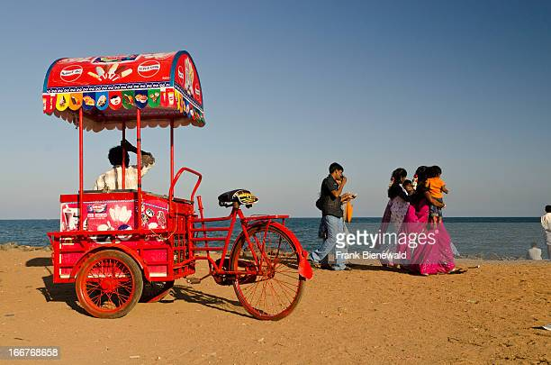 Mobile icecreamstall at the beach of Pondicherry