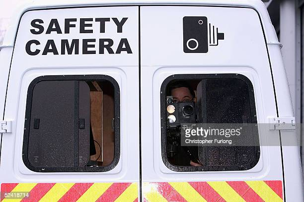 A mobile laser guided safety camera used to capture speeding drivers is pictured at the headquarters of Strathclyde Safety Camera Partnership March...