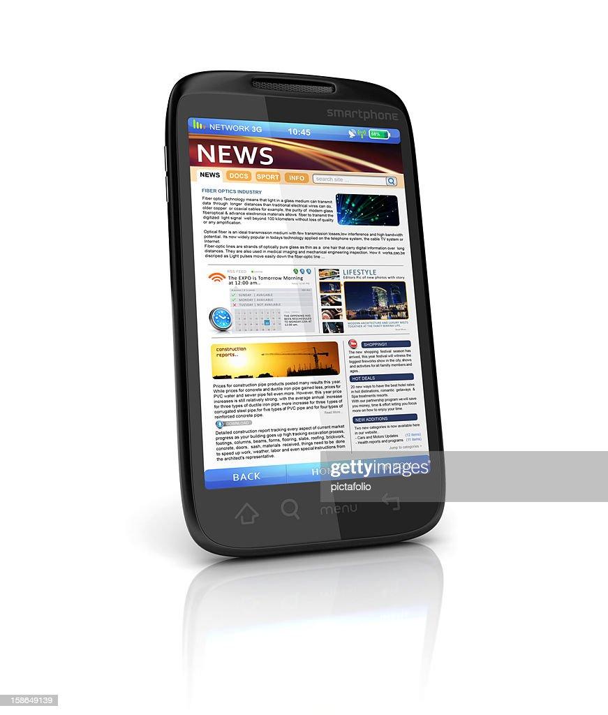 mobile news webpage : Stock Photo