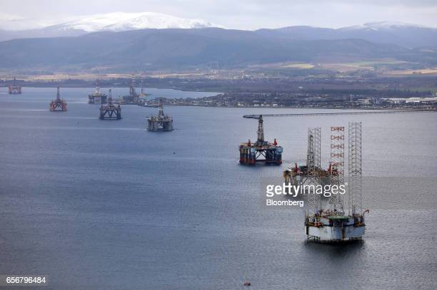 Mobile offshore drilling units stand in the Port of Cromarty Firth in Cromarty UK on Wednesday March 22 2017 Even as oil production declined in the...
