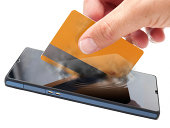 Conceptual view about checkouts or payments over Internet and mobile devices.