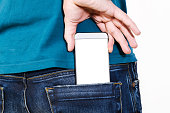 Taking modern smartphone out of pocket.