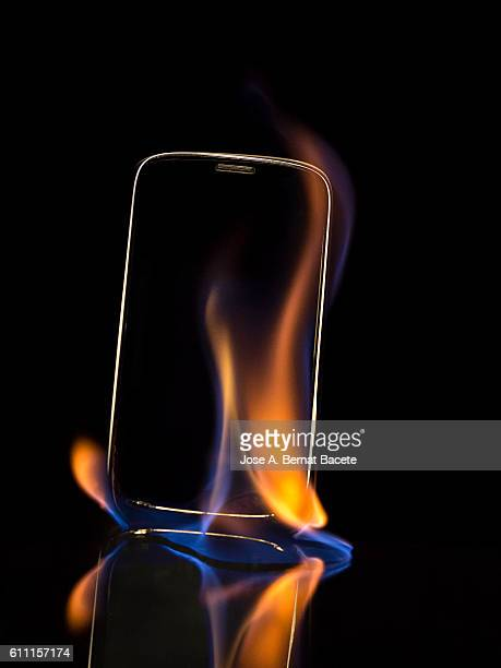 Mobile phone in flames for a breakdown