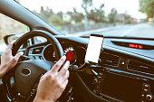 A Mobile phone inside a car