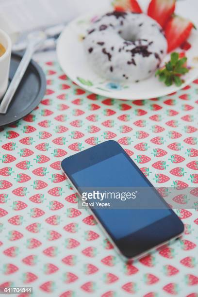 mobile phone mockup.Breakfast desk