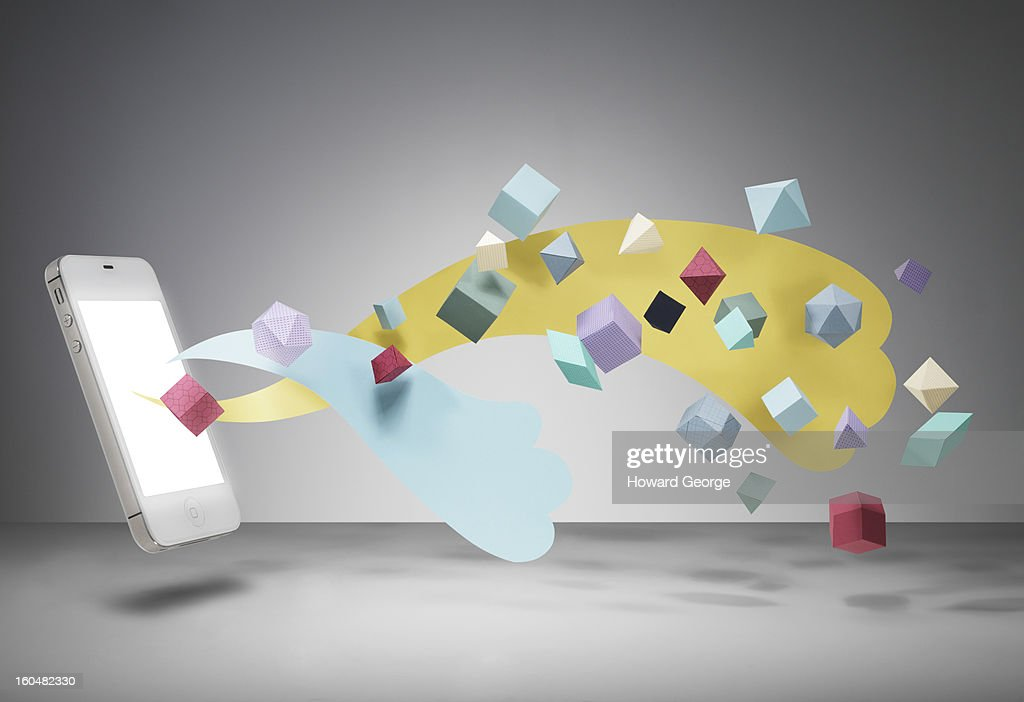 Mobile phone with geometric shapes : Stock Photo